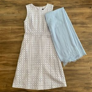 Ann Taylor eyelet dress & Shawl periwinkle sz 2